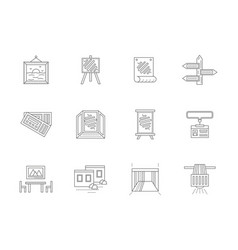 showrooms flat line icons set vector image