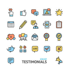 testimonial feedback and review signs color thin vector image vector image