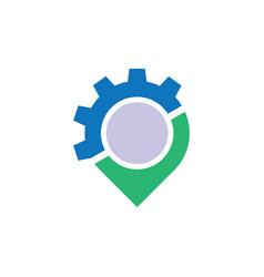 circle pin gear business logo vector image