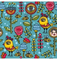 Cute and funny pattern with floral elements vector image vector image
