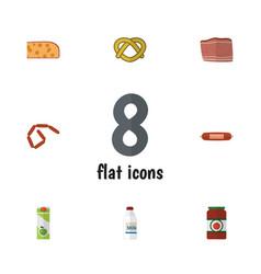 Flat icon food set of bratwurst packet beverage vector