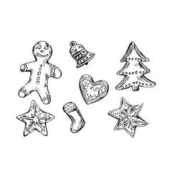 hand sketch of christmas cookies vector image
