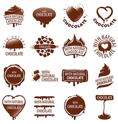 large set of logos chocolate vector image
