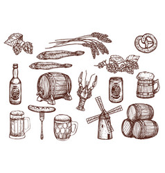 sketch icons of beer snacks and brewery vector image