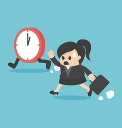 The time management business woman running vector image