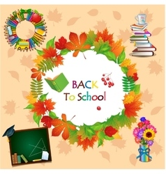 Back to school image with different objects vector image