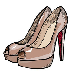 cartoon image of high heeled shoes vector image vector image