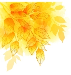 Fall leafs watercolor background vector image vector image