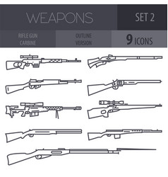 firearm set gun rifle carbine flat design outline vector image