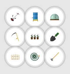 Flat icon dacha set of hothouse tool grass vector