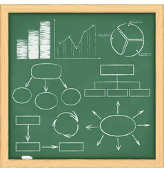 graphs and diagrams on blackboard vector image vector image