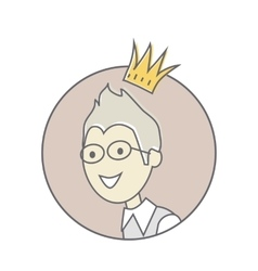Young Man with Crown on His Head Avatar Icon vector image
