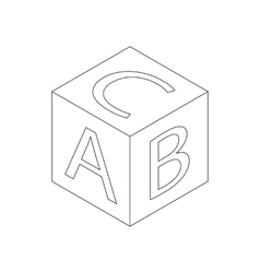 Baby letter cube icon isometric 3d style vector image