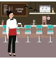 cafe waitress holding coffee serve with interior vector image