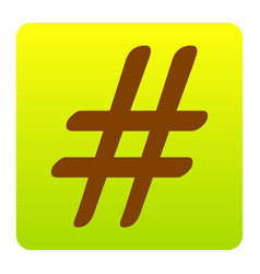 hashtag sign brown icon at vector image vector image