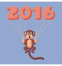 Monkey dotted symbol of 2016 with balloons Rose vector image vector image
