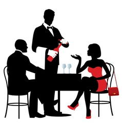 People sitting at the table of the restaurant vector image vector image