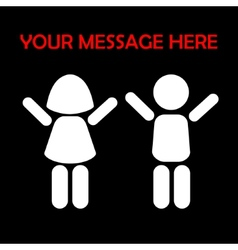 Silhouettes of children with raised hands on a vector image