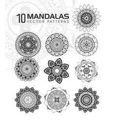 10 mandalas monochrome boho style set vector image