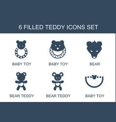 6 teddy icons vector