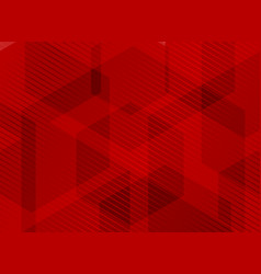 Abstract geometric hexagons overlapping red vector