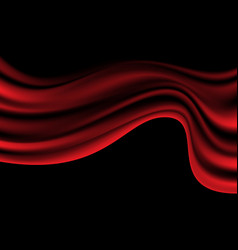 Abstract red satin wave on black luxury vector