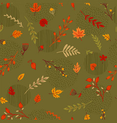 Abstract seamless autumn pattern leaves branches vector
