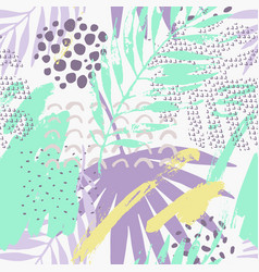 Abstract tropical drawing in pastel color palette vector