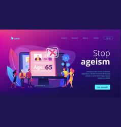 Ageism social problem concept landing page vector