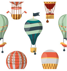air balloon aircraft or transport seamless pattern vector image
