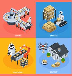 automatic logistics concept icons set vector image