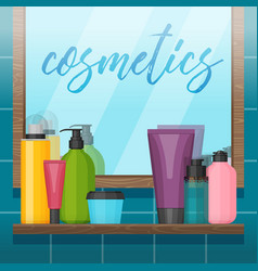 Bathroom with mirror and colorful cosmetic bottles vector