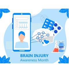 Brain injury awareness month in march neurology vector