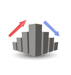 Business graph with growth up arrow down arrow vector image