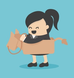Business woman riding the toy horse vector