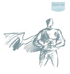 Businessman waving cloak hero sketch vector image