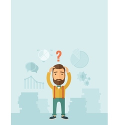 Businessman with question mark over his head vector image