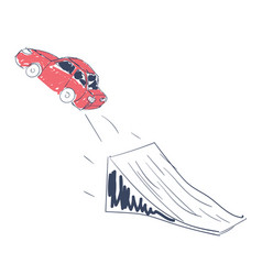 car jumping through the springboard vector image