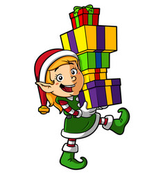 cartoon elf girl carrying gifts vector image