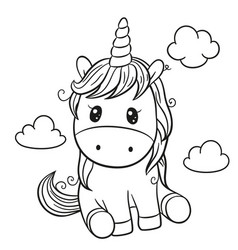Cartoon unicorn outlined for coloring book vector