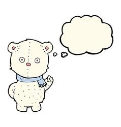 cartoon waving polar bear cub with thought bubble vector image