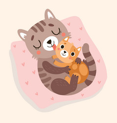 Cat and kitten hug and kiss vector