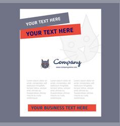cat title page design for company profile annual vector image