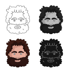 Caveman face icon in cartoon style isolated on vector