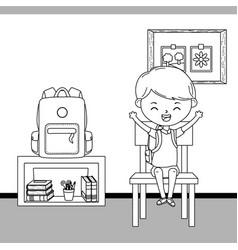 Classroom and boy school design vector