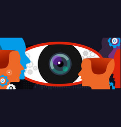 Clear vision big eye thinking concept of digital vector