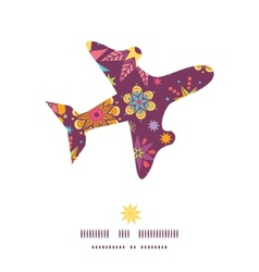 Colorful stars airplane silhouette pattern frame vector