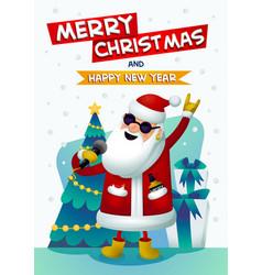 Cool rock star santa singing santa claus with vector