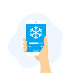Cooling control app smartphone in hand vector