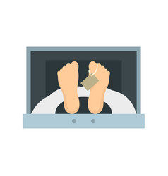 Corpse in forensic cell icon flat style vector